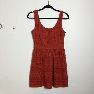 'As U Wish' Rust Red Lace Dress